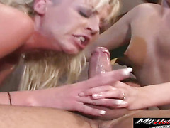 Ashley Blue, Ashley Moore, and Flick Shagwel are servicing this older mans cock turn by turn