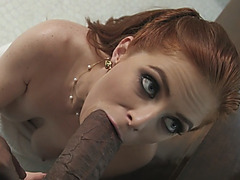 Tempting redhead slut taking black monster cock into her ass
