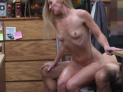 Blonde babe rides cock in pawn shop and takes a facial