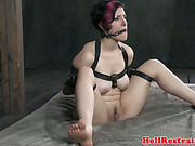 Bonded submissive gets tit bonded and mouth gagged