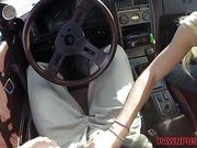 Blonde sucks my cock in the car