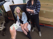 Lesbians caught on tape while fucking the owner in a pawn shop