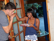 Horny ebony seduces random guy in house for sex so she bring some dessert