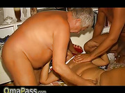 Old Granny has sex with two old men