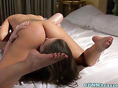 Lesbian fetish babes lick carpet closeup