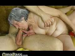 OmaPass Young boy fuck very old granny with her girlfriend on couch