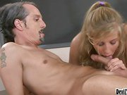 Young blonde fucks her old teacher while a student watches