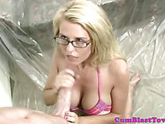 Cum loving spex blonde gets goo sprayed