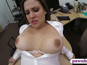 Business woman sells her stuff and fuck