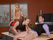 Jillian gives a blowjob to the hiring officer and her stepmom joins in