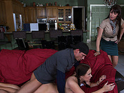 Horny lover fucking stops after step mom enters the room but she join