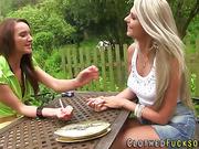 Lesbo glam chicks tease