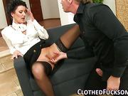 Glam lady gets cum facial