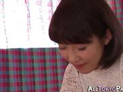 Japanese babe eats cum