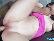 Glamcore babe riding cock before tugging