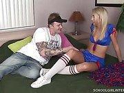 Petite Blond Cheerleader Gets Jizzed Inside!