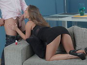 Horny babe Amirah fucks friend at the house wildly