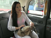 Party brunette girl Sasha gets her pussy smashed by drivers cock