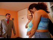 Two beautiful girls get spanked hard