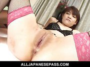 Megumi Morita Asian doll in stockings rides a hard cock