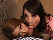 Sakura Kiryu  and her horny friend take on a horny dude heating up his kitchen with hot blowjob action