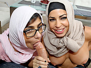 Busty Lebanese babe Mia Khalifa shares cock with her stepmom