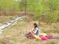 Dasha relaxing outdoors