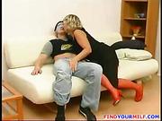 Mature MILF seduce young man