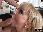 Blonde mature hoe blows shaft and gets ass fingered