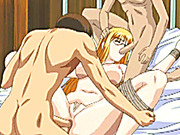 Roped hentai teacher gets hard gangbanged