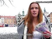 Czech slut Dominika flashes and fucked