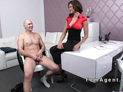 Petite female agent banged in casting