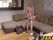 Spectacular blonde babe shows her sex ssweets on sex casting
