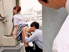 Lovely Japanese coed pleases her classmates hungry dicks