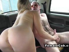 Busty female cab driver fucks hairy guy