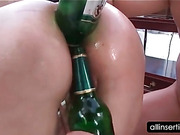 Hoe chocking on dick gets fuck holes toyed with bottles