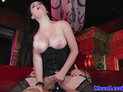 Busty lesbian licking tight pussy