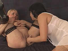 Lusty mature ladies are having amazing lesbian experience on the couch