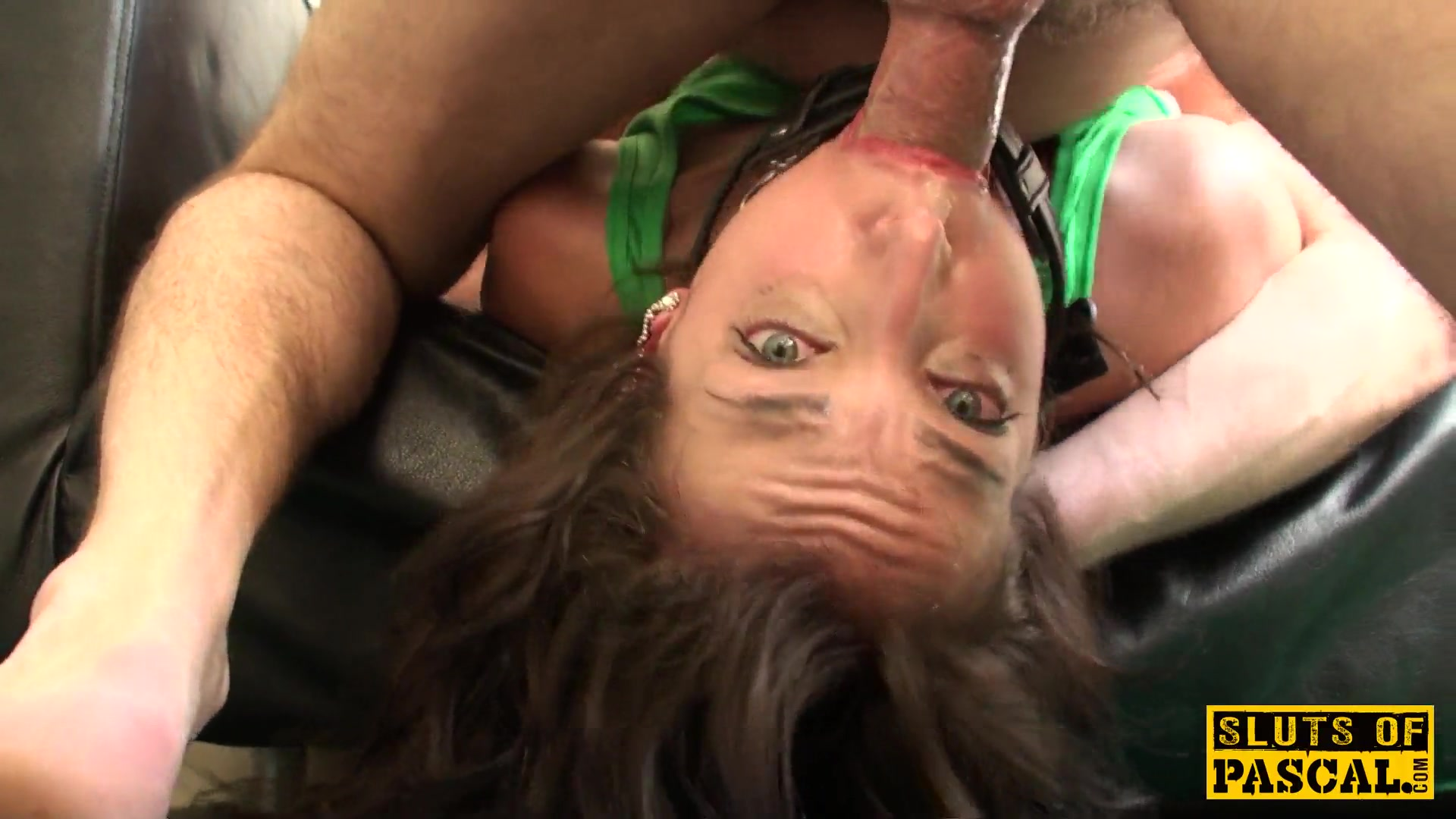 Facefucked sub roughly fucked in maledom trio 4