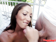 Amateur babe wanking cock in the bathroom