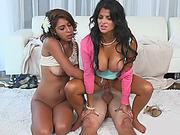 Bianka and Sarai loves huge man meat fucking them both
