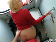 Eurobabe flashes her big tits n banged in trains toilet