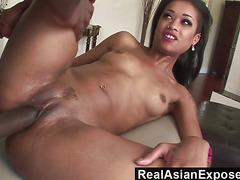 RealAsianExposed  Tiny Asian slut opens her butt to massive black cock