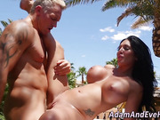 Busty babe rammed outside