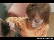 Japanese blonde mouth fucks small dick and flashes twat upskirt