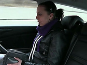 Nikky gets fucked inside a taxi cab and receives a creamy douche of sperm