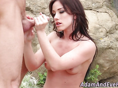Brunette gets cum outside