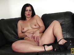 Mature sub masturbates for dominator