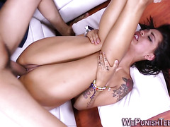 Teen dominated and banged