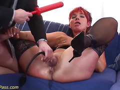 oiled chubby Milf gets anal pumped